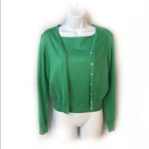 Lauren Ralph Lauren Twin Sweater Set Green Silk